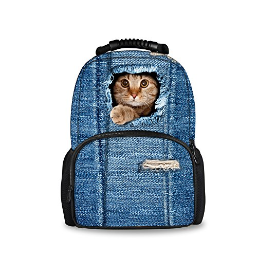 Casual Hiking Designed Laptop Pet Double Print Polyester Cute Travelling Backpack Bag Black Daypacks Casual ThiKin Stylish Students Weekend Trip College Backpacks School zipped Bookbags cat4 for v8PSWq