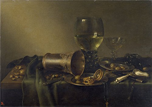 The Polyster Canvas Of Oil Painting 'Heda Willem Claesz Bodegon Con Vaso De Plata Y Reloj 1633 ' ,size: 8 X 11 Inch / 20 X 29 Cm ,this Amazing Art Decorative Canvas Prints Is Fit For Living Room Decor And Home Artwork And Gifts