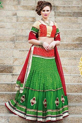 IWS Indian Women Designer Wedding green Lehenga Choli K-4446-38634