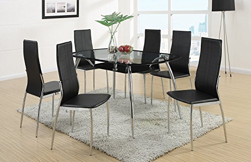 Set of 4 Contemporary Black Faux Leather Dining Chair with Silver Legs Support by Advanced Furniture