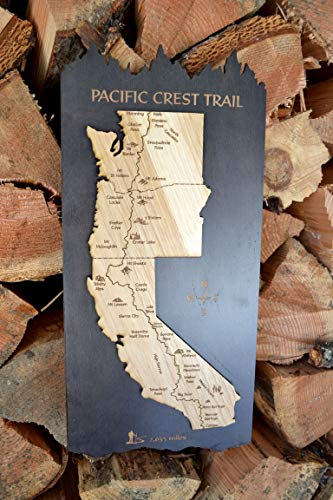 Pacific Crest Trail Wood Map by Amber Lodge Handcrafted