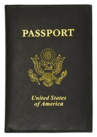 601 USA Gold Genuine Leather Passport Cover for Travel with Credit Card Slots By Marshal (Black)