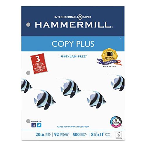 - Hammermill 105031 Copy Plus Copy Paper, 3-Hole Punch, 92 Brightness, 20lb, Ltr, White, 500 Shts/Rm