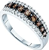 Size 7 10k White Gold White and Brown Diamond Ladies Anniversary Fashion Ring Band 1/2 cttw,