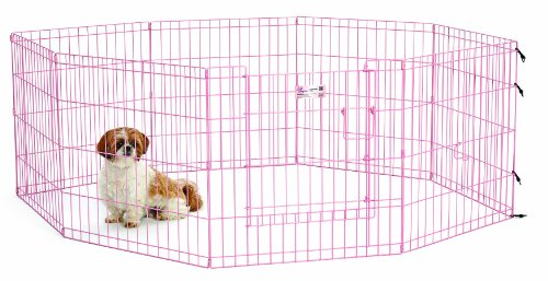 MidWest Homes for Pets Exercise Pen for Pets with Full Max Lock Door, 24-Inch, Pink