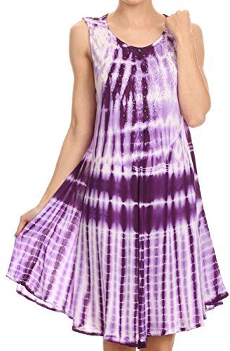 Sakkas 16607 - Frankie Two Tone Tie Dyed Tank Dress / Cover Up With Embroidery Neckline - Purple - OS