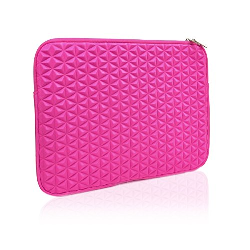"Unik Case Hot Pink Diamond Foam Splash & Shock Resistant Neoprene Universal Sleeve Zipper Case Bag for All 13"" 13-Inch Laptop Notebook / Macbook Pro / Macbook Unibody / Macbook Air / Ultrabook / Chromebook"