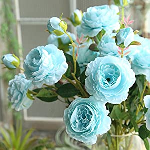 NszzJixo9 Artificial Fake Western Rose Flower Peony Bridal Bouquet Wedding Party Home Decor Artificial Flowers Well Made Vibrantly Colored Looks Realistic Beautiful (Blue) 47