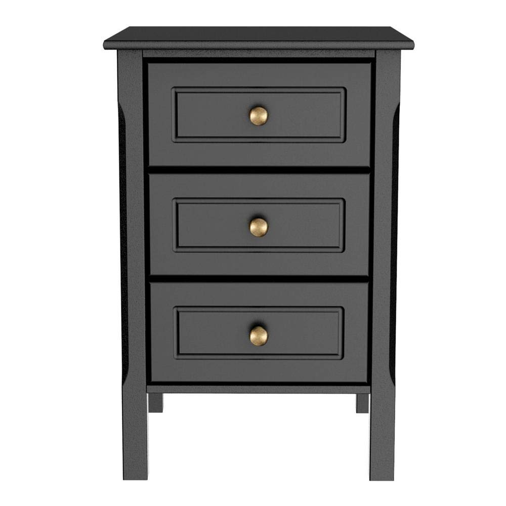 Yaheetech 3-Drawer Black Nightstand with Solid Pine Wood Legs Bedroom Furniture, 15.7''L x 15.7''W x 23.6''H by Yaheetech