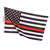 Thin Red Line USA American Fire Fighter Flag - Honor the Men and Women First Responders: EMT , Paramedic , & FireFighters - Black , White and Red -3x5 Foot Polyester RedLine Garden Flag Brass Grommets