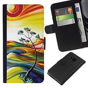 EJOY---La carpeta del tirón la caja de cuero de alta calidad de la PU Caso protector / HTC One M7 / --Pintura Naturaleza Árbol de Sun del verano