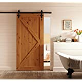 CCJH Country Classic Steel Flower Style Interior Sliding Barn Wood Door Hardware Kit 8 Ft/2.44m Black