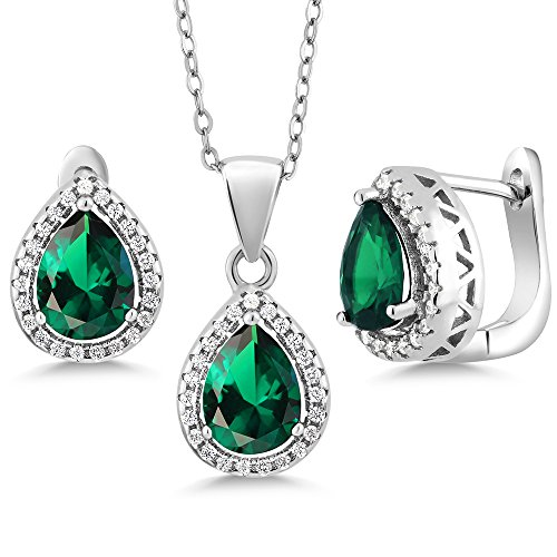 (Gem Stone King Sterling Silver Pear Shape Green Nano Emerald Pendant Earrings Set 6.50 cttw with 18 Inch Silver Chain)