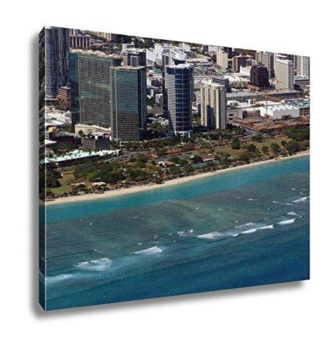 Ashley Canvas, Aerial Of Ala Moana Beach Park Mall Condos And Cityscape Of H, 20x25, - Mall Ala Hawaii Moana