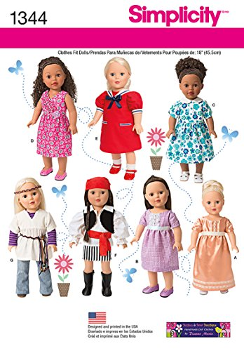 Simplicity Creative Patterns 1344 18-Inch Doll Clothes and Costumes Sewing Patterns, One Size -