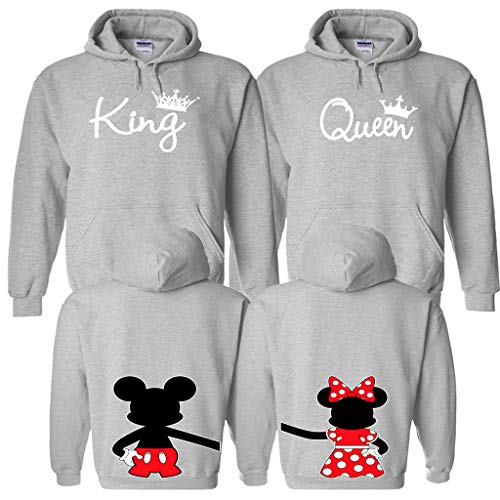 05c0d65ea4 King Queen Matching Couple Hoodies - King and Queen Hoodie with Disney  Design on The Back Gray X-Large Women