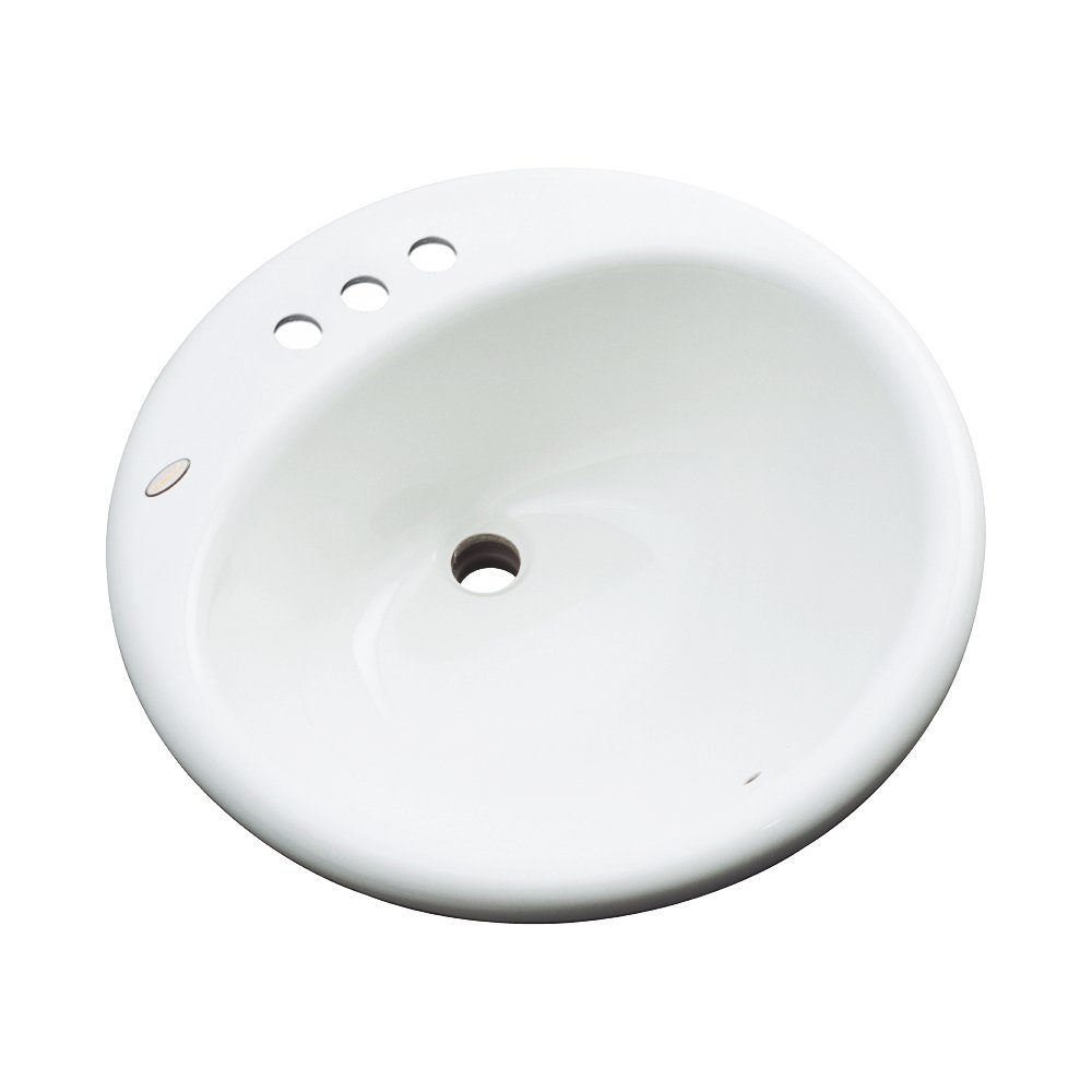 Dekor Sinks 86401 Newbury Cast Acrylic Self Rimming 3 Hole Bathroom Sink Bone