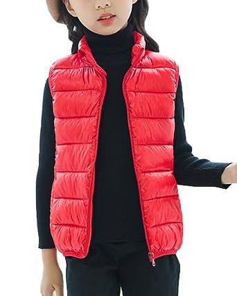 6b9fd9101e9e8 Gilet Doudoune Enfants Fille Garçon Col Debout Veste sans Manche Manteau  Rouge 80cm