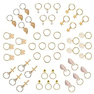 Hotop 50 Pieces Hair Braid Rings Hair Loops Clips Gold Ring Shell Leaves Star Bells Roses Butterfly Bells Pearl Pendant Rings Set, Gold