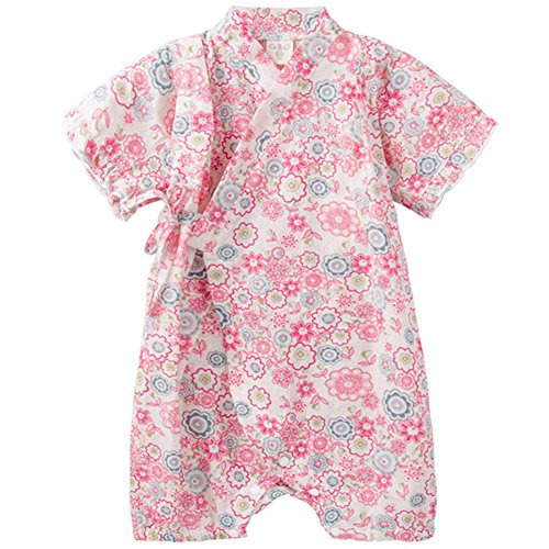 Baby Girl Clothes Organic Cotton Kimono Short Sleeve Romper Pajamas with Cute Pattern Red Flower 90