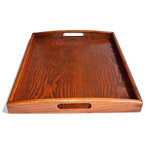 Kidcia Wooden Tray With Handle Serving Tray/Decorative Trays/Wooden serving Platters For Easy Arrangement Wood Tray Thanks Giving or Christamas Gift Interior Decoration-Brown(14.2x9.1x1.6'') by Kidcia (Image #2)