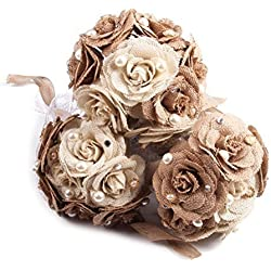Tinksky Rustic Wedding Bouquet Burlap Flower Bouquet Lace and Pearls Wedding Anniversary Engagement Decoration, Valentine's Day gift