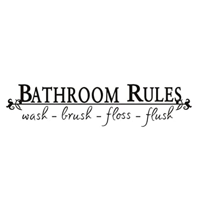 VORCOOL Bathroom Rules Wall Art Removable Wall Sticks Decals Funny Reminder  For Bathroom Home Decor