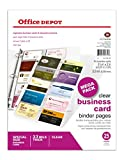 Office Depot Business Card Binder Pages, 8 1/2in. x 11in, Clear, Pack Of 25, 706182