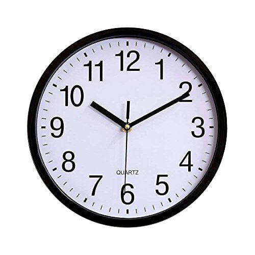 Yesee 12 inch Silent Wall Clock Non Ticking Quartz Mechanism Battery Operated Modern Clock Wall Decor Large Decorative for Kids Kitchen Bedroom Living Room(12'' Black Metal)