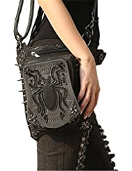 Women Gothic Leather Waist Bags Retro Rock Leg Bags Steampunk Spider Cross Body Bag