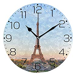 ZZAEO Beautiful Paris Eiffel Tower Printed Round Acrylic Wall Clock Art Frameless Quiet Desk Clock for Kitchen Bedroom Living Room Classroom Home Decor