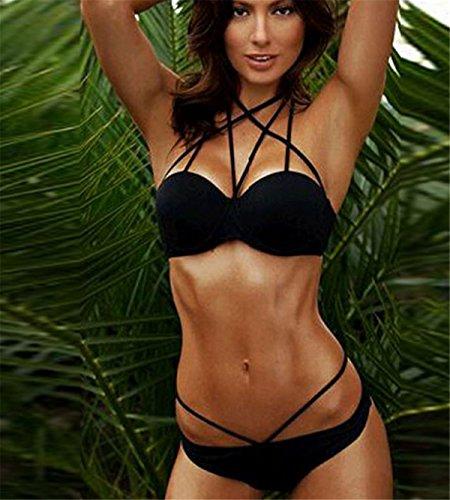 1763591e4e4360 ... YOGLY Damen Bandage Sexy Hot Neckholder Push-up Bikini-Sets BH Design  Bademode Beachwear ...