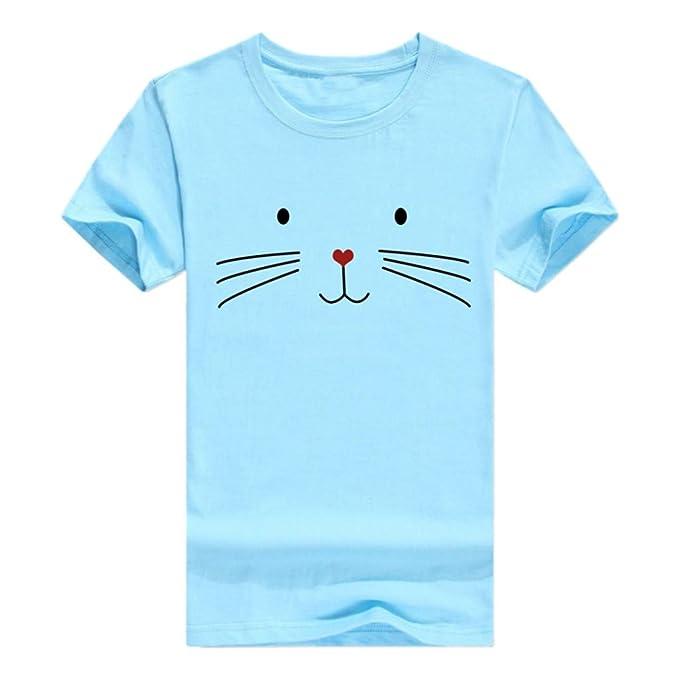 FRAUIT Camiseta Casual del O-Cuello Blusa De Verano De Las Mujeres Tops con Estampado De Gatos Ropa De Mujer Casual Camisetas para Mujer Blusas De Verano ...