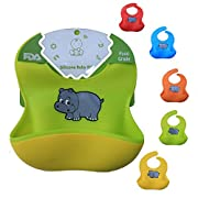 Silicone Bib with Waterproof Food Catcher Pocket! Adjustable and Easy to Clean! Comfortable Baby Bibs by Blooming Baby Place   Unisex Set of 2 Colors (Green/Yellow)