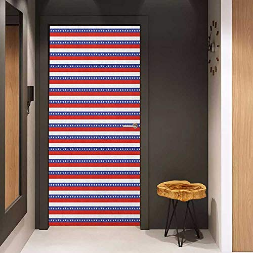 Door Sticker 4th of July Stars and Stripes Pattern American Flag Inspired Patriotic Theme Glass Film for Home Office W36 x H79 Violet Blue Ruby White