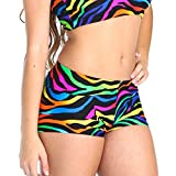Gia Mia Girl's Remix Print Dance Short Size Medium (8-10) Rainbow Zebra