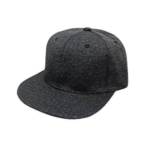 ChoKoLids Flat Visor Snapback Hat Blank Cap Baseball Cap - 14 Colors (Black Melange) ()