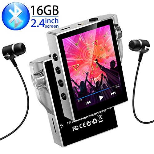 MP3 Player with Bluetooth 4.2, Gueray 16GB FM Radio Portable High Resolution Lossless Sound HiFi Music Player Digital Audio Walkman with Video E-Book Digital Recording SD Card Slot up to 128GB