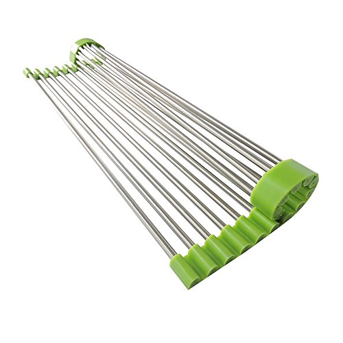 Kaimao Creative Kicthen Dish Drainer Shelf Roll-Up Drying Rack Stainless Steel Colander for Fruits and Vegetables 37*23 CM ---Green