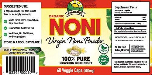 Virgin Noni Powder - 100% Pure Noni Powder Capsules, Certified Organic - Pack of 4 Bottles