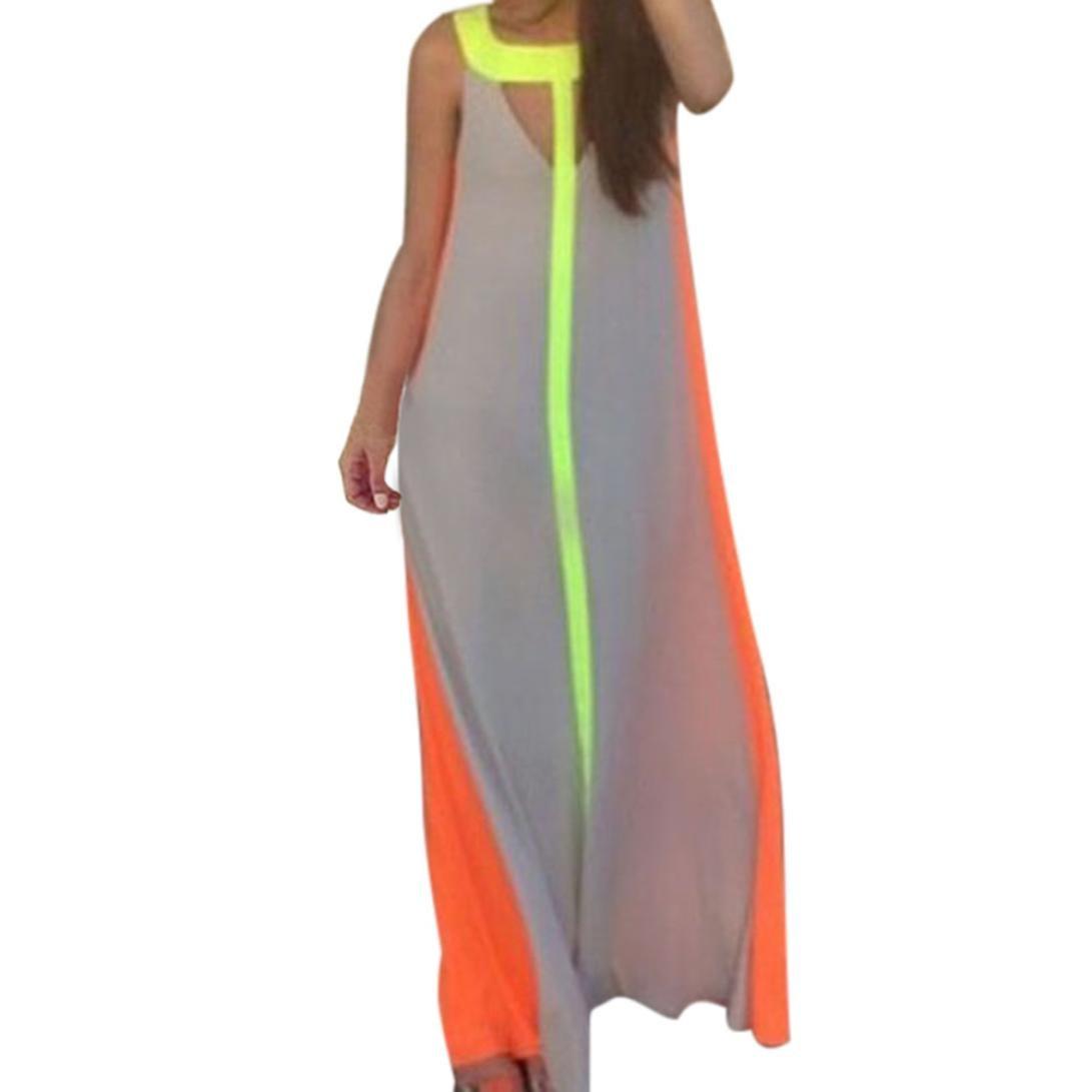 Resplend Womens Sommer Strand Langes Kleid Ärmellos Personalisierung ...