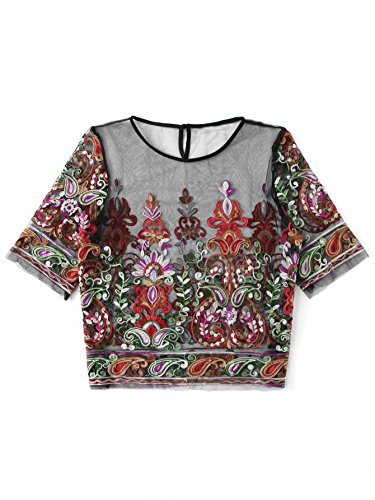 Top Applique (SheIn Women's Mesh Embroidered Round Neck Half Sleeve Crop Top Floral Blouse Multicolor#2 2X-Large)