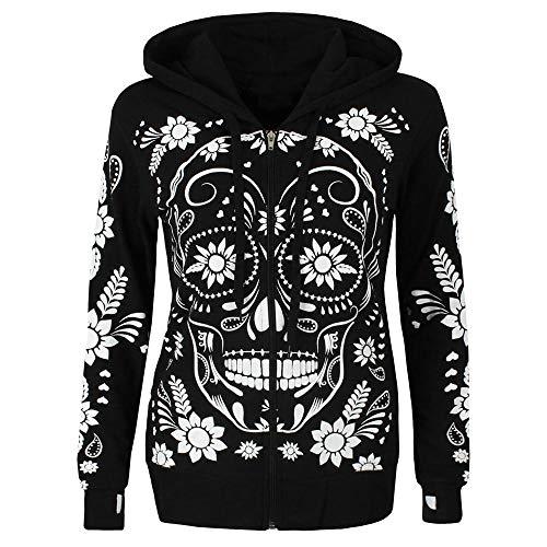 HGWXX7 Women's Skull Print Plus Size Long Sleeve Zipper Blouse Pullover Tops Hooded Sweatshirt(2XL,Black)