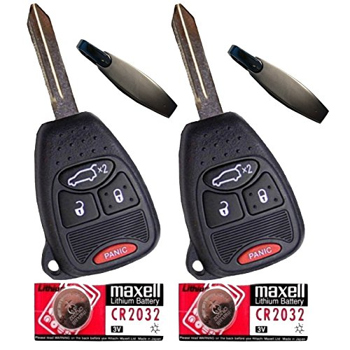 Discount Keyless Pair of Replacement 4 Button Automotive Keyless Entry Remote Control Transmitter Key Combos with Extra Batteries Compatible with Chrysler, Jeep, and Dodge Vehicles KOBDT04A OHT692427AA