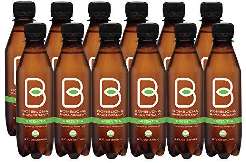 B-tea Raw Organic Kombucha Probiotic Green Tea Bottled 8 oz 12-pack