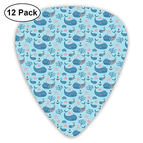 - Celluloid Guitar Picks - 12 Pack,Abstract Art Colorful Designs,Happy Smiling Sea Animals With Coral Reef Anchor Starfish And Shells,For Bass Electric & Acoustic Guitars.