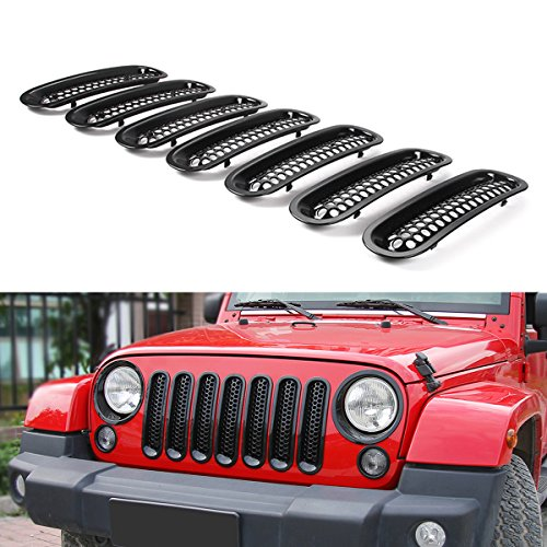 (RT-TCZ Upgrade Version Clip-on Grille Front Mesh Grille Inserts For Jeep Wrangler 2007-2015)