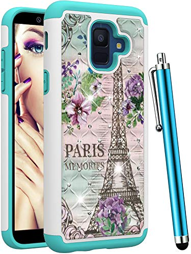 CAIYUNL for Samsung Galaxy A6 2018 Case Dual Layer Shockproof Protective Hard PC & Silicone Phone Case Hybrid Heavy Duty Cover Luxury Bling Glitter Studded Rhinestone Women Girls Men-Iron Tower/Flower