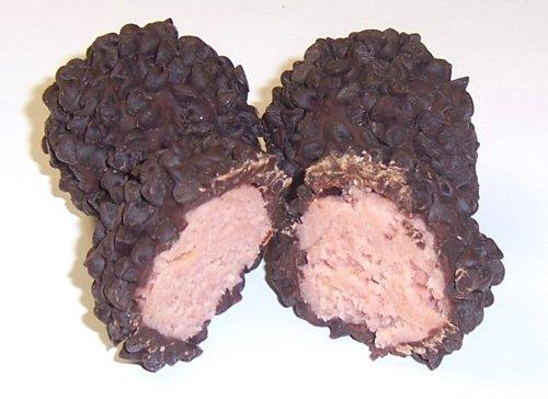 Mini Cake Sampler - Scott's Cakes Raspberry Vodka Cake Balls Covered in Dark Chocolate with Mini Semi-Sweet Chocolate Chips in a 8 oz. Pastel Flower Box