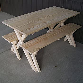 A U0026 L Furniture Pine Cross Legged Picnic Table With Benches, Unfinished